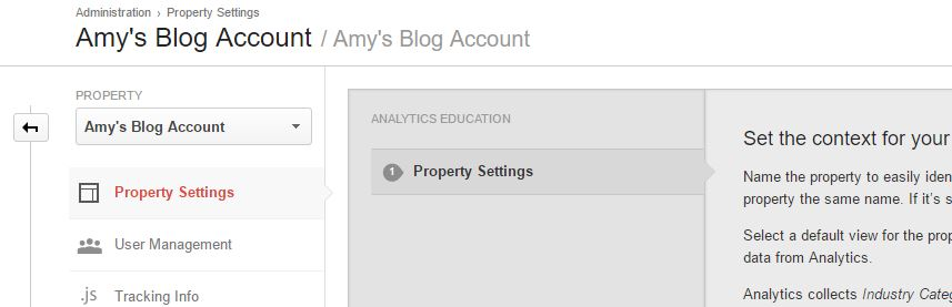 search console analytics property page